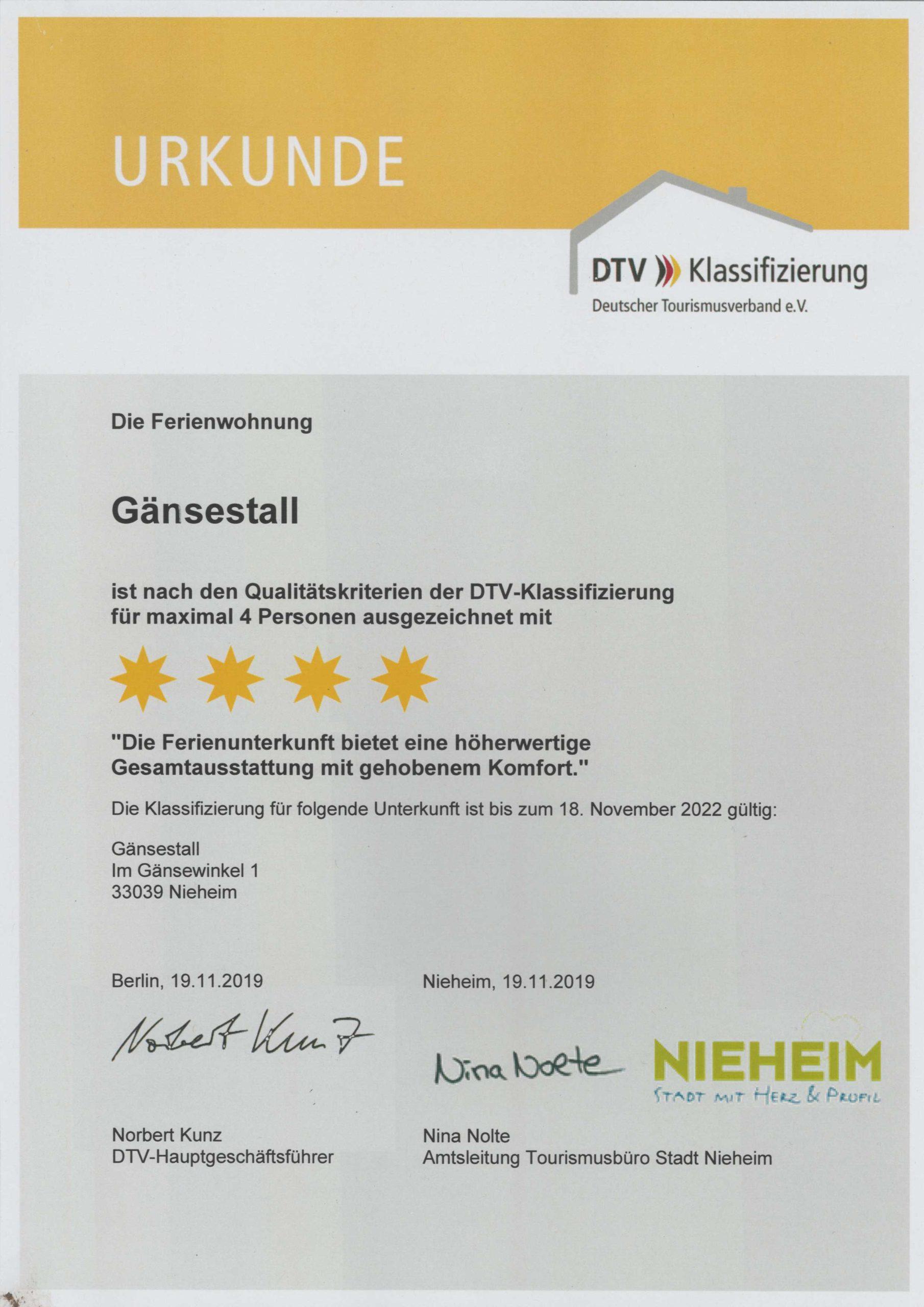 Zertifizierung FeWo, Urkunde Nov. 2019-2022